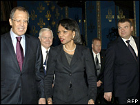 Sergei Lavrov (left), Robert Gates, Condoleezza Rice and Anatoly Serdyukov at the talks in Moscow (18 March 2008)