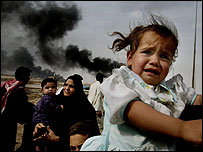 Families fleeing Basra