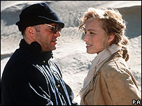 Anthony Minghella and Kristin Scott-Thomas on location for The English Patient