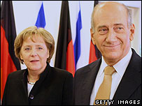 German Chancellor Angela Merkel and Israeli PM Ehud Olmert