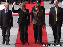 Angela Merkel, second from left, is greeted by Dalia Itzik, speaker of the Israeli Knesset, on Tuesday