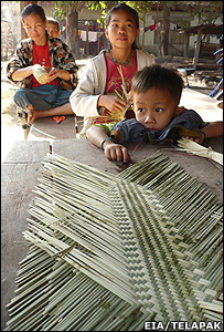 Villagers in Laos weaving a basket (Image: EIA/Telapak)