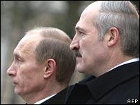 Alexander Lukashenko with Russian President Vladimir Putin (December 1997)