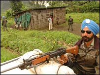 Monuc soldier on patrol in DRC