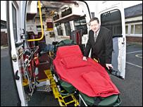 Tony Cowley with the new bariatric ambulance