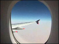 View out window of Airbus A380