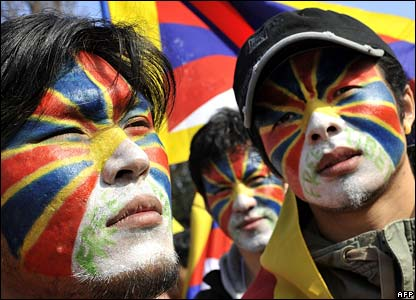 Tibet protesters outside the International Olympic Committee (IOC) headquarters in Lausanne, Switzerland.