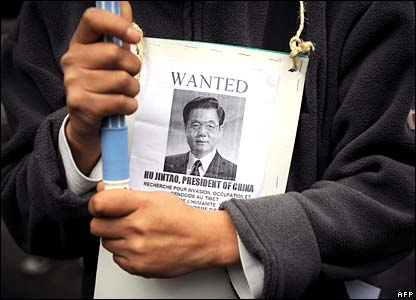 A Tibetan protester in front of the Chinese embassy in Paris on Tuesday