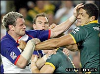 Jamie Peacock (left) tussles with Australia Willie Mason