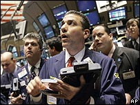 Traders at the New York Stock Exchange, 18 March 2008