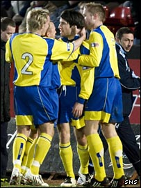 Rocco Quinn is congratulated on his opening goal at Love Street