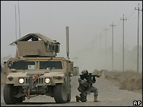 US soldier and armoured vehicle south of Baghdad - 10/03/2008