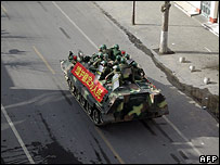 Chinese soldiers in Lhasa on 16 March 2008