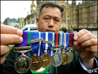 A Gurkha handing in his medals in protest