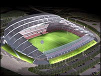 An artist's impression of the City of Salford Stadium