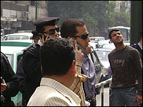 Egyptian police at the Doctors Syndicate protest