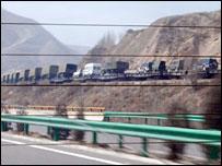Military train convoy
