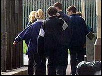 Pupils at school gate