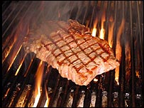 Steak is flame-grilled