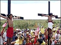 Filipinos nailed to crosses on Good Friday in 2002