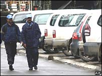 UN police patrol in northern Mitrovica on Wednesday
