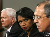 US Defence Secretary Robert Gates, left, Secretary of State Condoleezza Rice and Russian Foreign Minister Sergei Lavrov, 18 March 2008