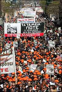 Protest during a strike in Greece, 19 March 2008
