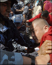Tibetan monks protesting in Kathmandu, Nepal