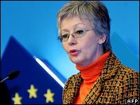 Hungarian Foreign Minister Marta Fekszi Horvath announcing recognition of Kosovo