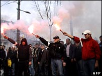Demonstrators in Belgrade (17 March 2008)