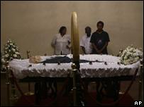 Sir Arthur C Clarke in casket