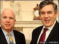 US presidential hopeful John McCain with Gordon Brown