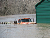 A truck submerged in floodwater south of Joplin, Missouri. (Picture by reader Dan Davis)