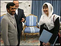 Swiss Foreign Minister Micheline Calmy-Rey with President Ahmadinejad of Iran