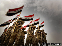 Iraqi army recruits on parade (18 March 2008)