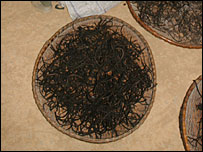 A basket of dried rats tails