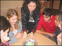 Teacher Gabriella Barsoum with Iraqi students at Ronna school, Sweden