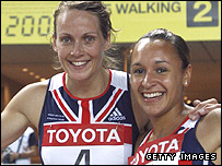 Kelly Sotherton and Jessica Ennis