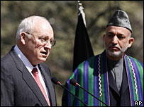 US Vice President Dick Cheney (L) and Afghan President Hamid Karzai