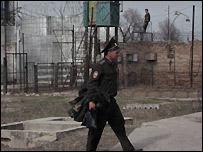 Outside of prison in Kyrgyzstan