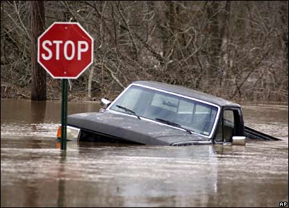 Submerged car in Joplin, Missouri
