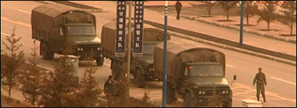 Military trucks in Hezuo, 20/03/08