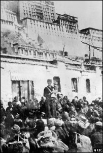 A Chinese official addresses Tibetans in Lhasa, 1959