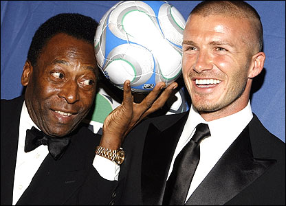 David Beckham with Pele at a US fundraising gala in New York