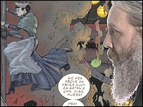 Alan Moore looks towards a scene from the League of Extraordinary Gentlemen by drawn Kevin O'Neill
