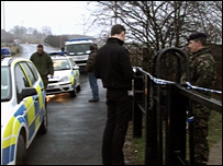 Scene where the suspected unexploded WWII bomb has been found
