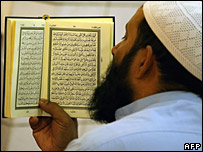 A Saudi man reads the Koran at a mosque in Riyadh, September 2007