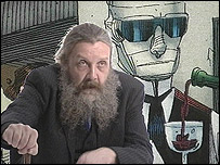 Alan Moore flanked the Invisible Man from the League of Extraordinary Gentlemen (Artist Kevin O'Neill)