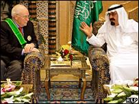 Dick Cheney (l) and King Abdullah in Riyadh (21 March 2008)