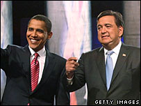 Barack Obama y  Bill Richardson en un debate del partido demócrata 13/12/07